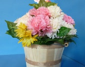 Flower Arrangement, Floral Arrangement, Silk Flowers, Bouquet of Pink and White Carnations and Yellow Wild Daisies in a Bushel Basket.