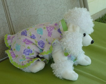 Dog Clothes, A Small Cute Puppy Dress in Light Pink, with Purple, Aqua, and Mauve Roses with Lime Green Trim