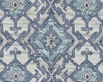 Navy Blue and Aqua Ikat Upholstery Fabric - Grey Blue Cotton Curtains Roman Shades - Navy Medallion Pillow Covers - Ikat Window Seat Fabric