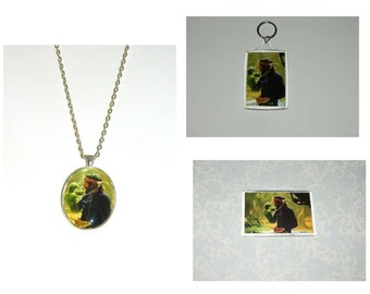 Kermit the Frog and Jim Henson Glass Pendant Necklace Muppets Rainbow Connection Movie Choice of Images