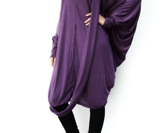 NO.57 Purple Viscose Oversize Knitted Dress, Infinity Scarf Tunic Dress, Cocoon Day Dress