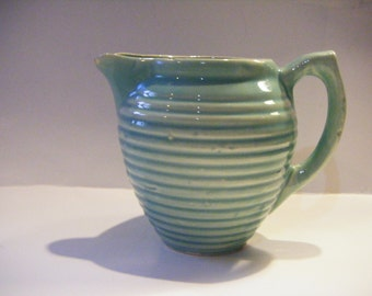 Beautiful Vintage Mid Century Ribbed Green Pottery Creamer