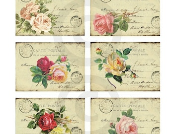 Vintage Roses POSTCARD CARTE POSTALE Vintage Ephemera Hang Tags No.003 ....Instant Digital Download