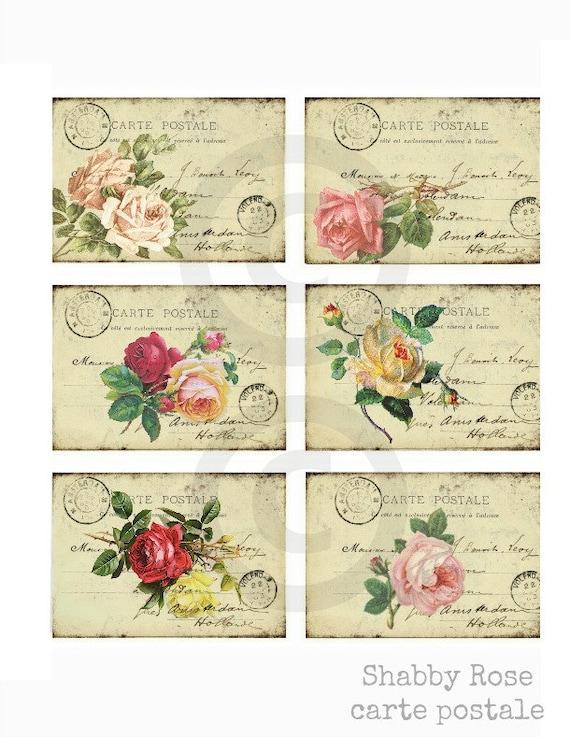 vintage roses postcard carte postale vintage ephemera hang. Black Bedroom Furniture Sets. Home Design Ideas