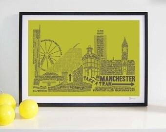 Manchester Skyline Typography Print