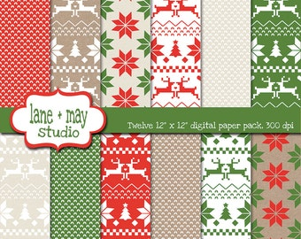 digital scrapbook papers - red, green and khaki fair isle christmas theme patterns - INSTANT DOWNLOAD