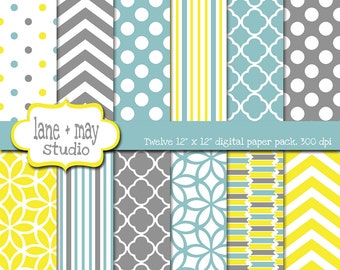 digital papers - yellow, gray and aqua blue patterns - INSTANT DOWNLOAD