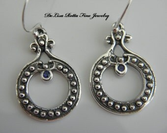 Eco-Friendly, Recycled Silve,r Genuine Blue Sapphire, Earrings, Middle Eastern Style