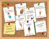 INSTANT DOWNLOAD -Digital File - Ice Cream Valentine Cards- Printable