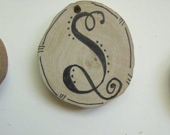 Customized Personalized Recycled fallen tree branch Wood Monogram Tag or Ornament