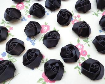 SALE--50 pcs25X10mm Black Lovely Rose Satin Flowers