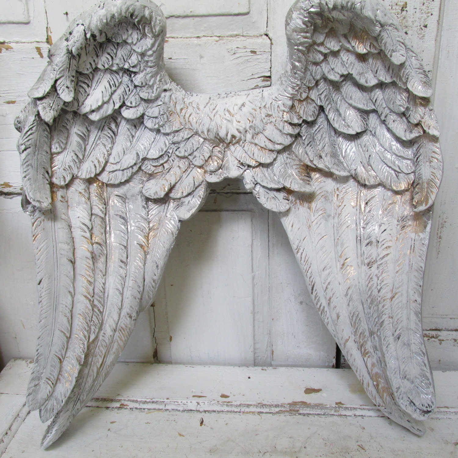 Large angel wings wall sculpture silvery pewter gold hand for Angel wall decoration