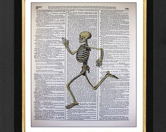 "Skeleton Print ""Running Man"" - Running Love, Mixed Media art print on 8x10 Vintage Dictionary page, Dictionary art, Dictionary print"