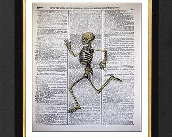 "Skeleton Print ""Running Man"" - Running Love, Mixed Media art print on 8x10 Vintage Dictionary page, Dictionary art, Dictionary print"