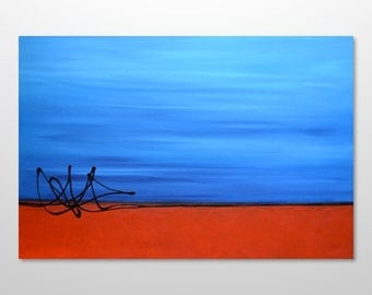 Large Original Abstract Modern Contemporary Minimalist Acrylic Painting - Orange, Red, Rust, Turquoise, Blue - HUGE 36 x 24- FREE SHIPPING