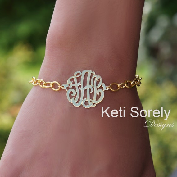 Monogrammed Initials Bracelet with Large Link Chain (Order Any Initials) 24K Gold w/Sterling Silver