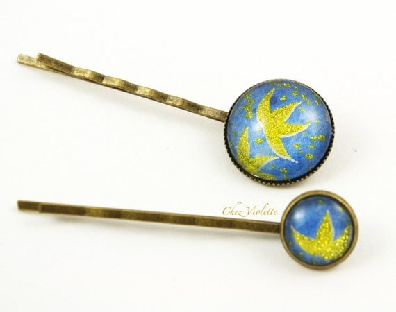 2 Bobby pin Hair pin set blue gold romantic retro Hair accessory hair jewelry