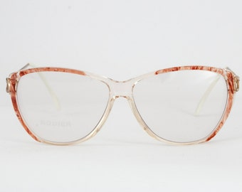 Rodier Paris Vintage 80s Oversized Style Glasses/Frames - Transparent With Marbled Bronze Design and Marbled Print Metal Arms.