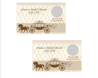 Personalized Vintage carriage Bridal Shower Scratch off Game - set of 6