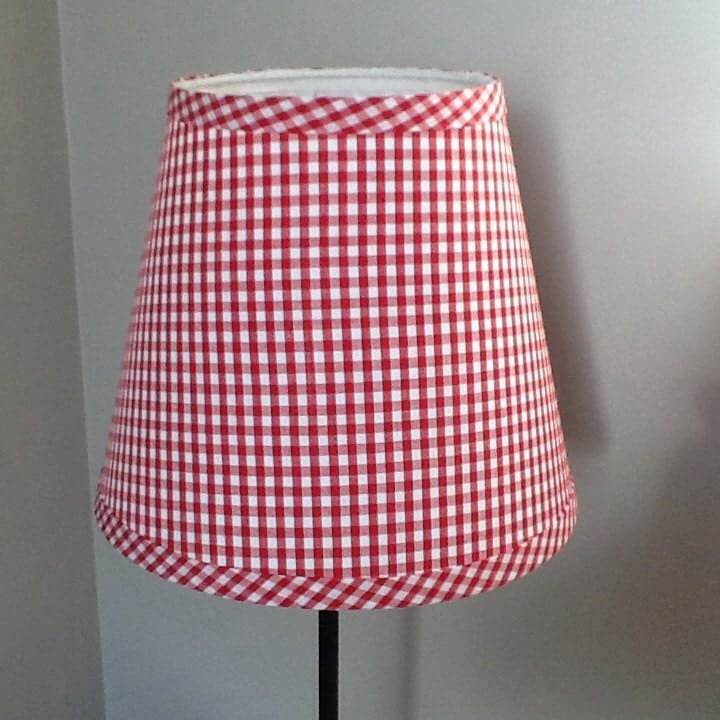 Red Gingham Lamp Shade: Red and white gingham lampshade clip on,Lighting