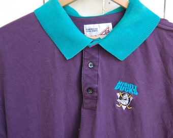 MIGHTY DUCKS 90s Purple and Teal Classic Polo