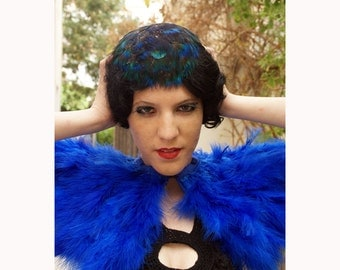 Royal blue ostrich  feathers shall.Shoulders  Feathers cape  . gothic decadence costume ,vintage capelet .