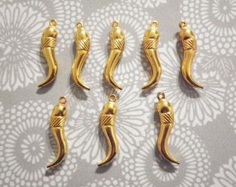 8 Goldplated 30mm Italian Horn Charms