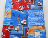 Minky Baby Boy Blanket Quilt Henry Glass Dead Man's Cove Pirates Ships Skulls 2 Sizes--Made to Order