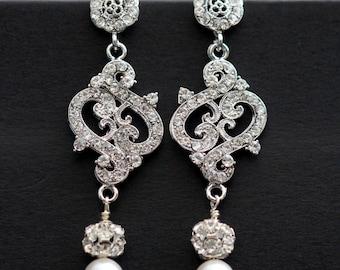 Wedding Bridal Rhinestone Earrings, Long Chandelier Bridal Earring, Rhinestone Pearl Bridal Earrings,Vintage Inspired Bridal Earring SARAH