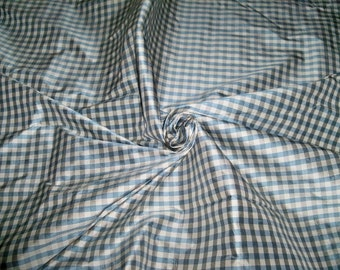 TAPESTRIA FRENCH COUNTRY Gingham Check Silk Fabric 10 yards Chambray Gray Oyster