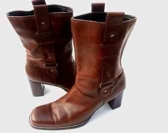 AEROSOLE Short Western Boots with straps sz 9
