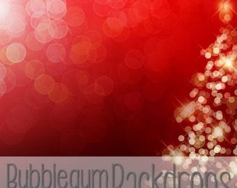 Red Winter Bokeh - Vinyl Photography  Backdrop Photo Prop