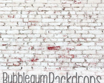 White Painted Brick - Vinyl Photography Backdrop Floordrop Prop