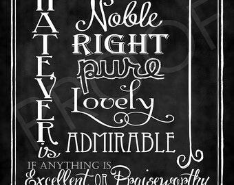 Scripture Art - Philippians 4:8 Chalkboard Style
