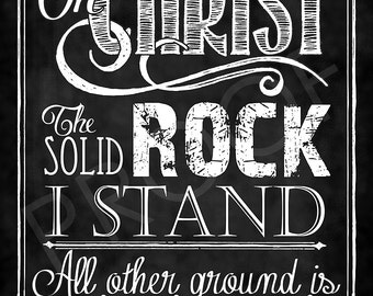 "Hymn ""On Christ The Solid Rock I Stand"" Chalkboard Style"
