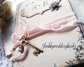 Guest book wedding Handmade custom in Shabby Chic Pink