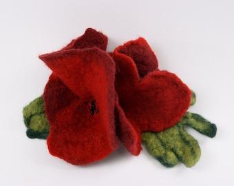 SALE!!! felt, felted brooche -  poppy flowers III - by inmano