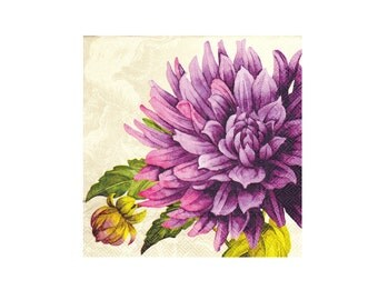 Paper napkin for decoupage, mixed media, collage, scrapbooking x 1. Purple Passion Flower . No 1176