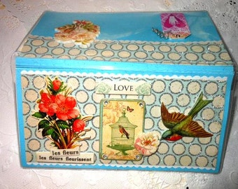 Lovers Love Floral Bird Birdcage Scrapbooked Checkbook Cover - with Vinyl Case