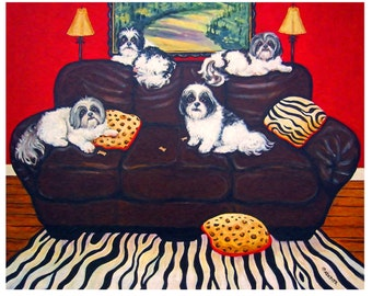 Shih Tzu 8x10 Glicee Print  whimsical colorful dogs couch sofa - So Sorry No Room for You - Korpita ebsq