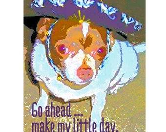 Funny Fiesty Chihuahua Mexican Sombrero Glicee Print 8x10 16x20 from original art - Make My LIttle Day - Korpita ebsq