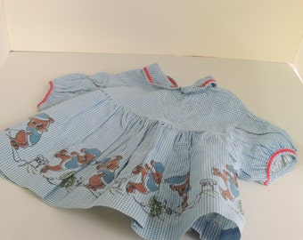 Vintage Blue Gingham Winter Baby Dress 9 month