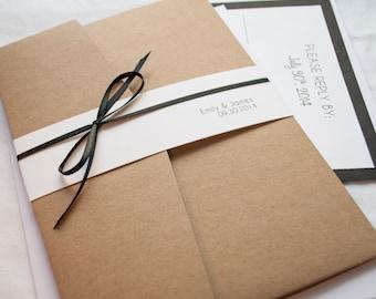 Classy Kraft Simple Wedding Invitation, 5X7 with Pocket