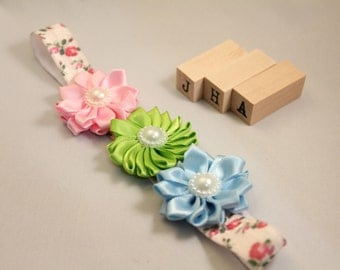 Newborn/baby/children/flower girl headband - Pink/Blue/Green