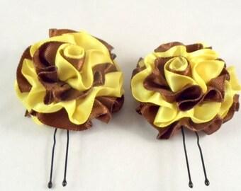 Hair Pins Chocolate Brown and Lemon Yellow Satin Ruffle Flower Women Teens Girls Wedding Bridal Bridesmaids Flowergirls