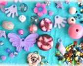 Set  Violet / Purple Mix cabochons and many pcs