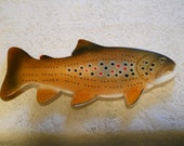 Hand Made - Wood Carved - Trout Cribbage Board - Games