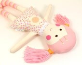 Fabric Rag Doll -- Eco-Friendly Fabric Cloth Doll -- Camille Doll with Baby Pink Yarn Pigtails & Pink and Apricot Floral Dress -- Sweet Doll