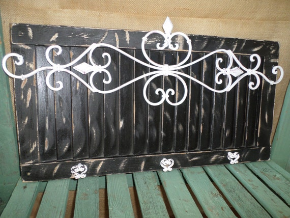 Shabby Chic Shutter Black Hook White Wrought By