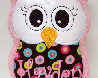 Monogrammed Personalized Stuffed Owl Soft Toy Pillow Reading Buddy